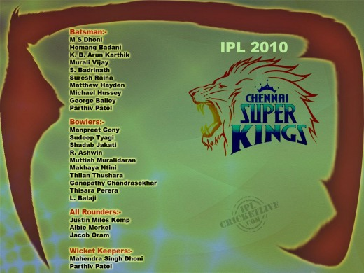 Chennai Super Kings IPL 2010